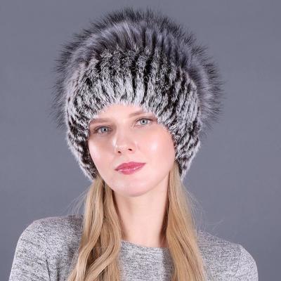 Good Elastic Natural Fluffy Faux Silver Fox Fur Hat New Winter Women Knitted Rabbit Fur Hats Lady Fur Cap