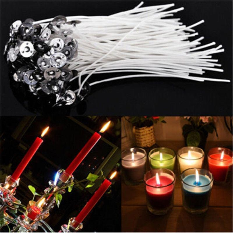 30 Pcs White Candle Wicks Cotton Core Waxed Wick with Sustainer Candle Making