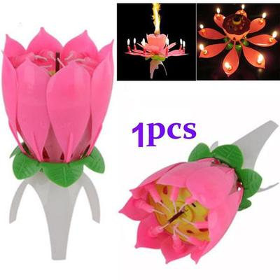 2pcs Amazing Musical Flower Music Candles Lotus Flower Candle