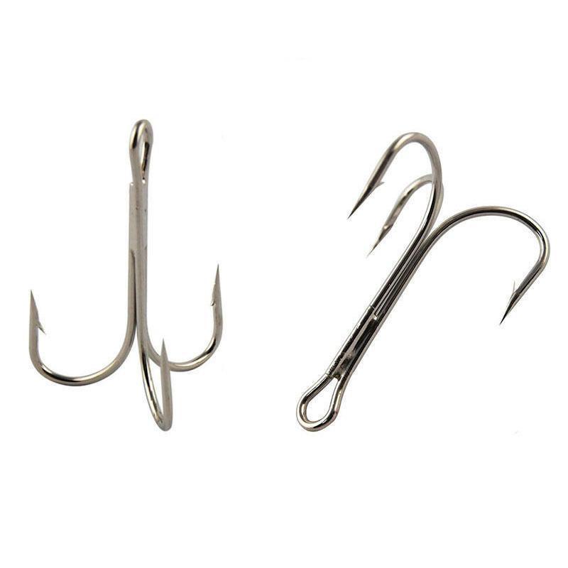 100pcs Red Hi-carbon steel Fishing Hooks Sharpened Treble Hooks Tackle Full size