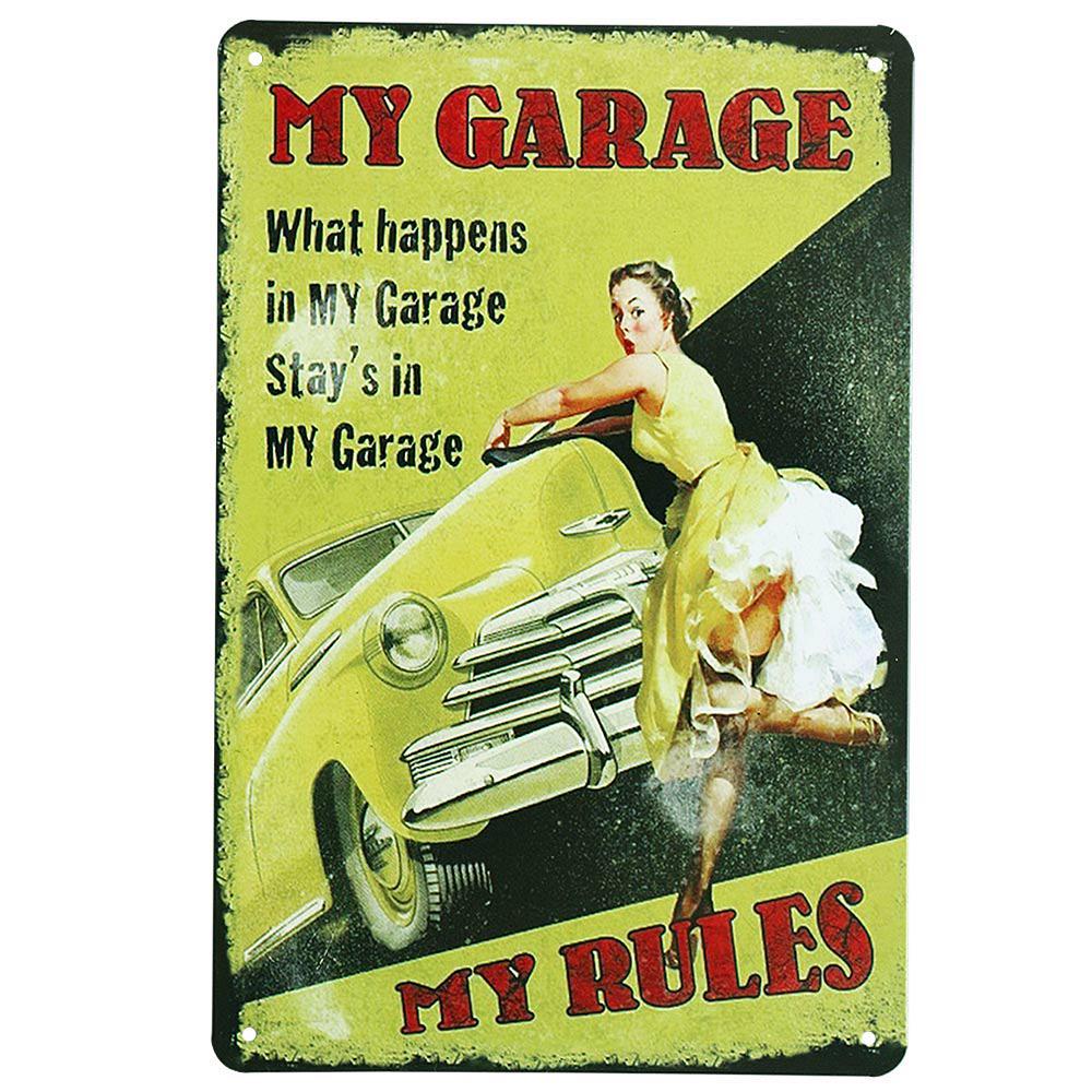 Metal Tin Sign man cave rules Decor Bar Pub Home Vintage Retro Poster