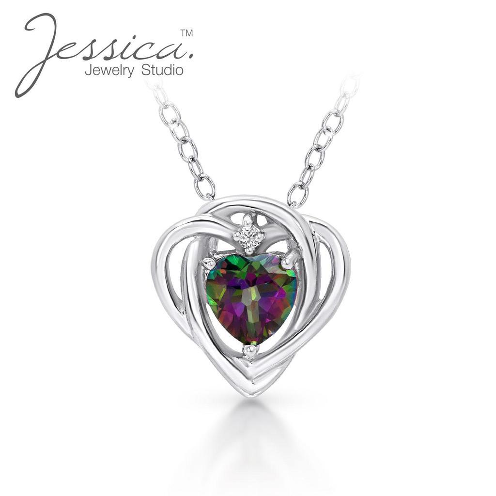 Модное женское ожерелье из стерлингового серебра 925 пробы с подвеской на цепочке в форме сердца стразами и Топазом – купить по низким ценам в интернет-магазине Joom