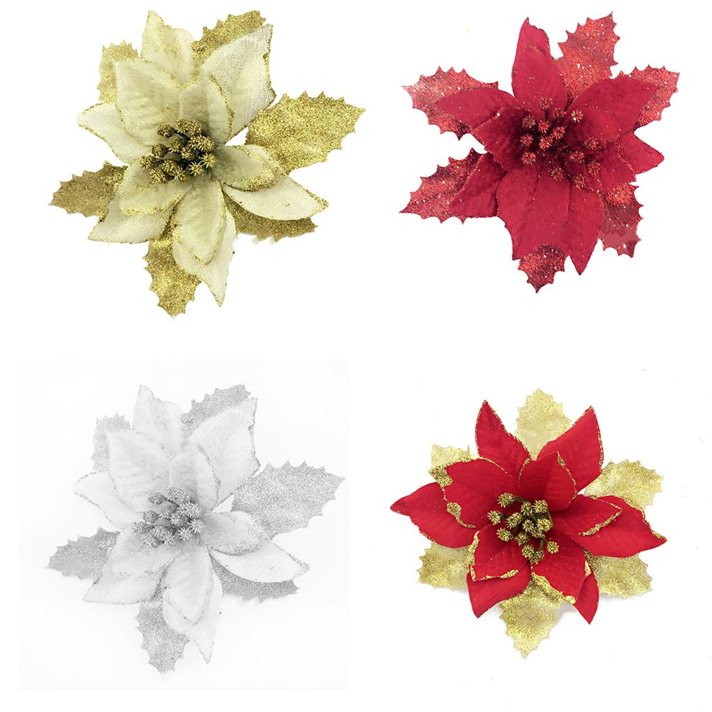 Artificial Flowers 15cm Poinsettia Glitter Flower Wedding Orna Christmas Tree Decorations Buy At A Low Prices On Joom E Commerce Platform