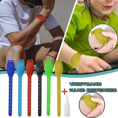 Hand Cleaning Gel Refillable Wristband Dispenser 12-13ml Wearable Squeezes Soap