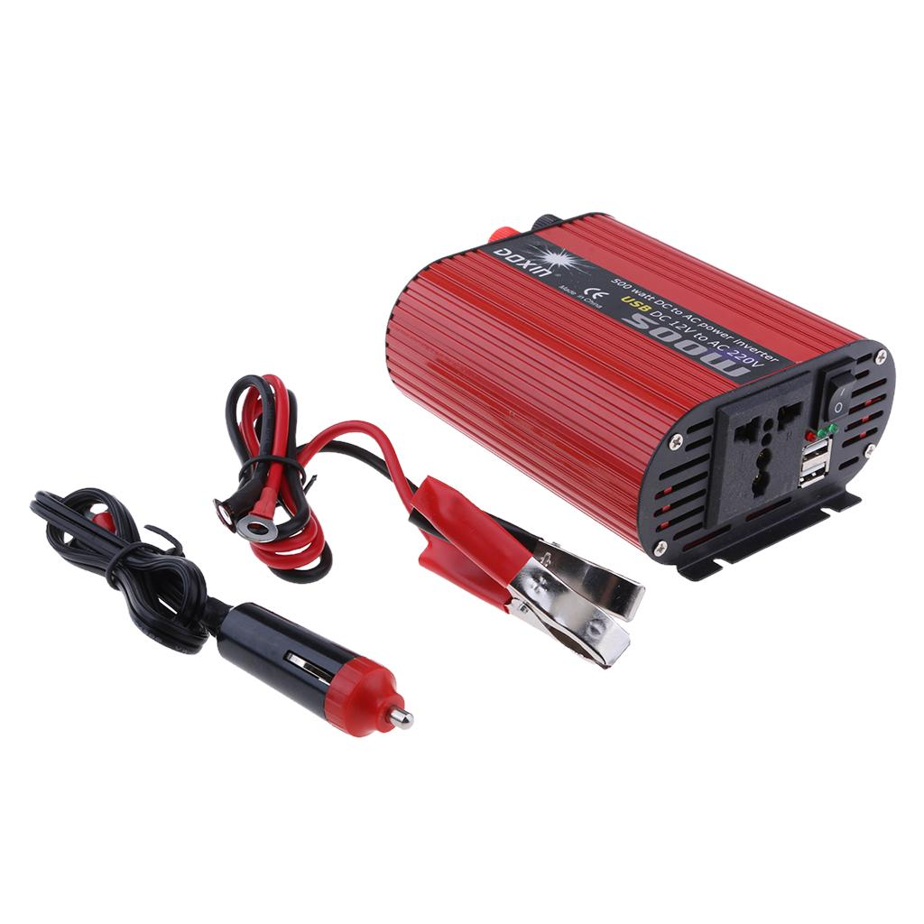 500W DC 12V to AC 220V Car Power Inverter Adapter LCD Converter Battery Clamps
