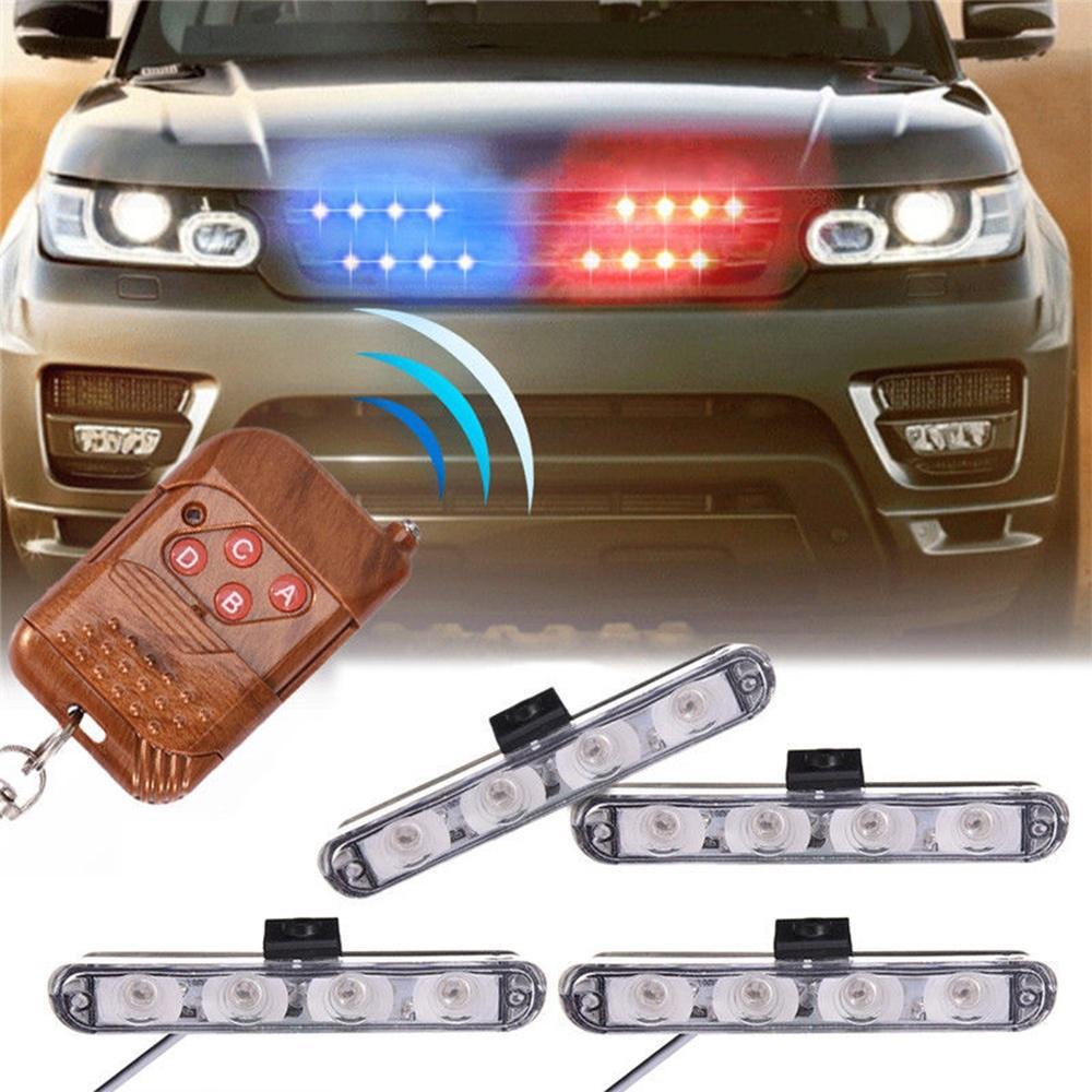 16 BLUE LED CAR EMERGENCY HAZARD WARNING INTERIOR FLASH STROBE LIGHT UNIVERSAL 8