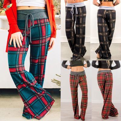 Women Printed High Waist Casual Pants Ladies Plaid Tartan Sports Yoga Trousers