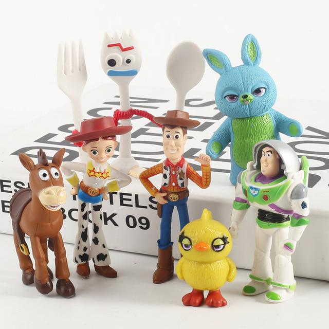 New 7pcs High quality Toy Story 4 Buzz Lightyear Forky Cartoon Woody Jessie Acti