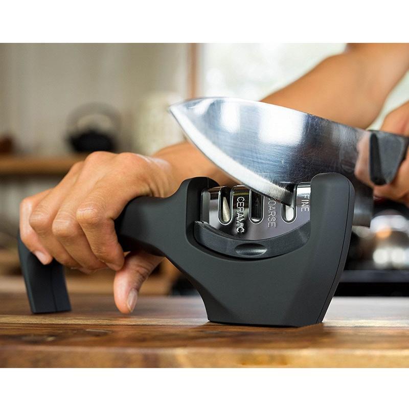 户外多功能磨刀器 金刚石快速三头磨刀器 精粗细 磨刀石(3卡扣)