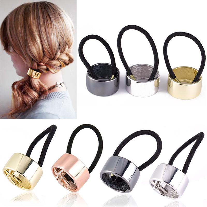 Chic Women Girls Metal Elastic Ponytail Holder Hair Cuff Wrap Tie Band Ring Rope