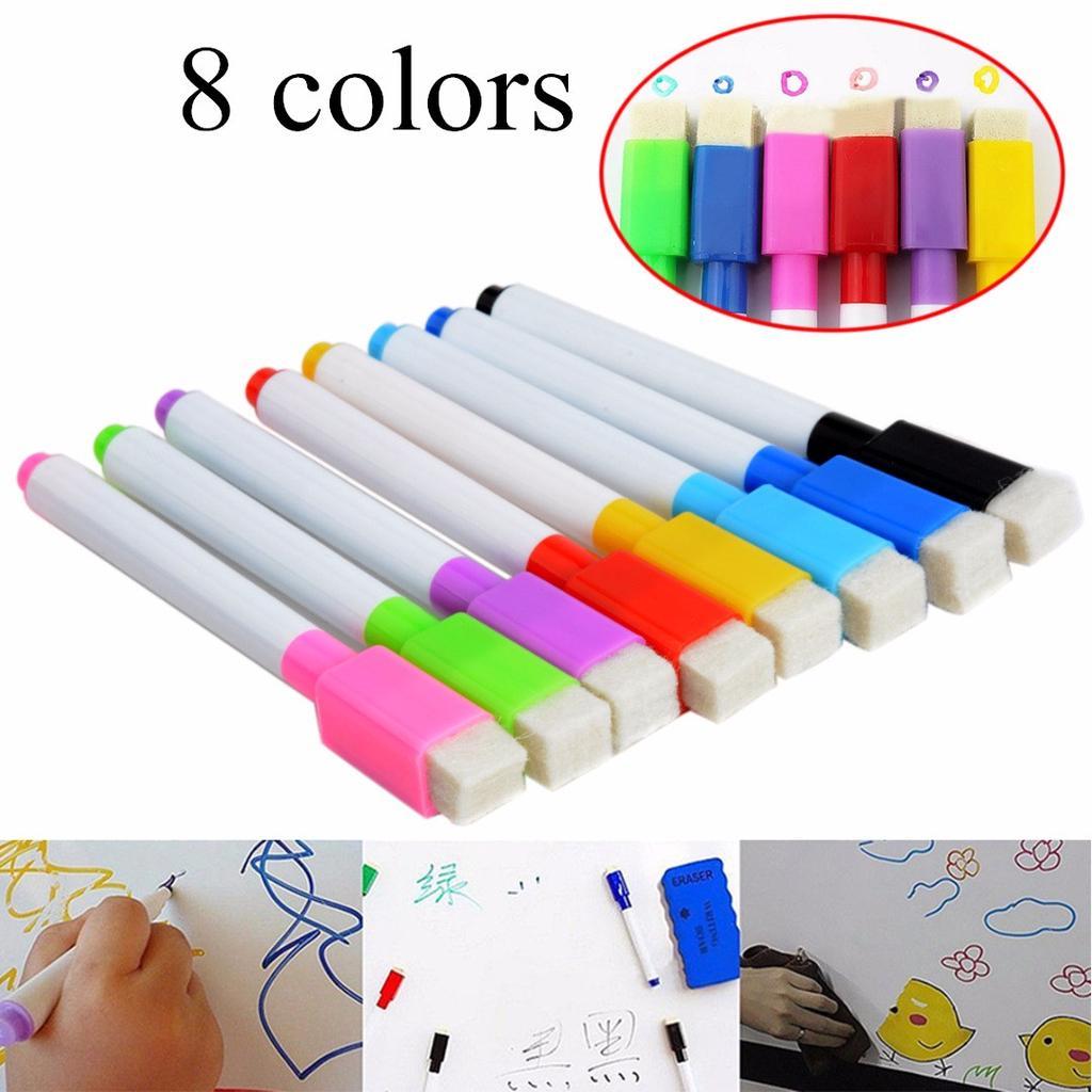 Easy Whiteboard 8 Colour Set Magnetic White Board Marker Pens Dry Erase Eraser