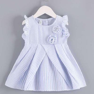 OCEAN-STORE Toddler Kids Baby Girls Heart Striped Princess Dress Sundress Outfits Clothes