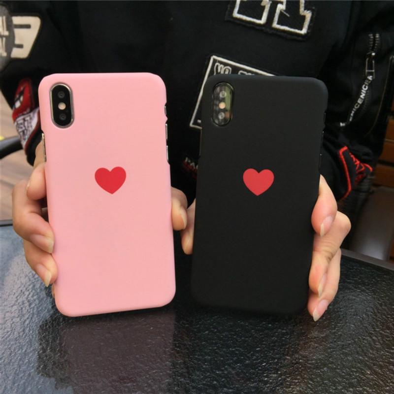 小小爱心苹果X/苹果8plus半包硬壳男女时尚情侣手机壳