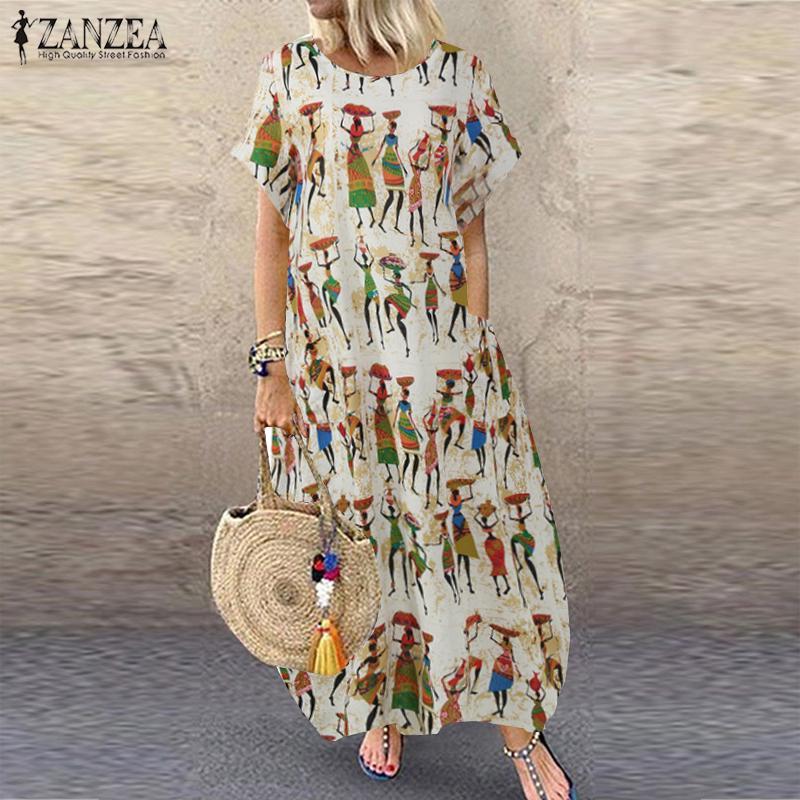 ZANZEA UK Womens Bohemia Short Sleeve Striped Printed Casual Loose Kaftan Dress