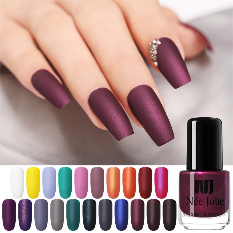 NEE JOLIE 3.5ml Matting Nail Польский черный цвет Розовый ногти Искусство Масляный лак DIY