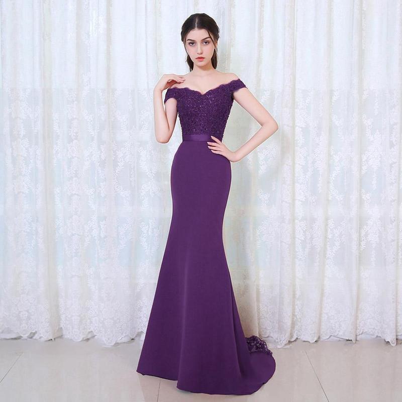 1 PC Sirena Vestido de noche largo fiesta elegante fuera del hombro ...