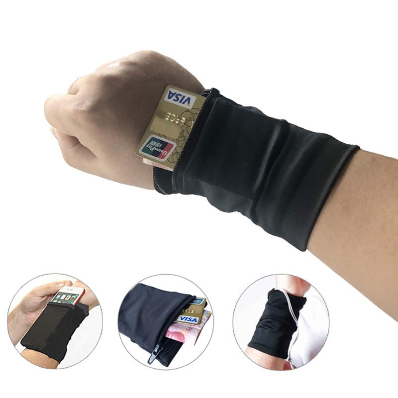 Efectivo Tarjetas ID Sports Gym Basketball Wristbands Running Sweatbands Wrist Wrap Billetera con Cremallera Bolsillo para Llaves Zipper Wrist Pouch