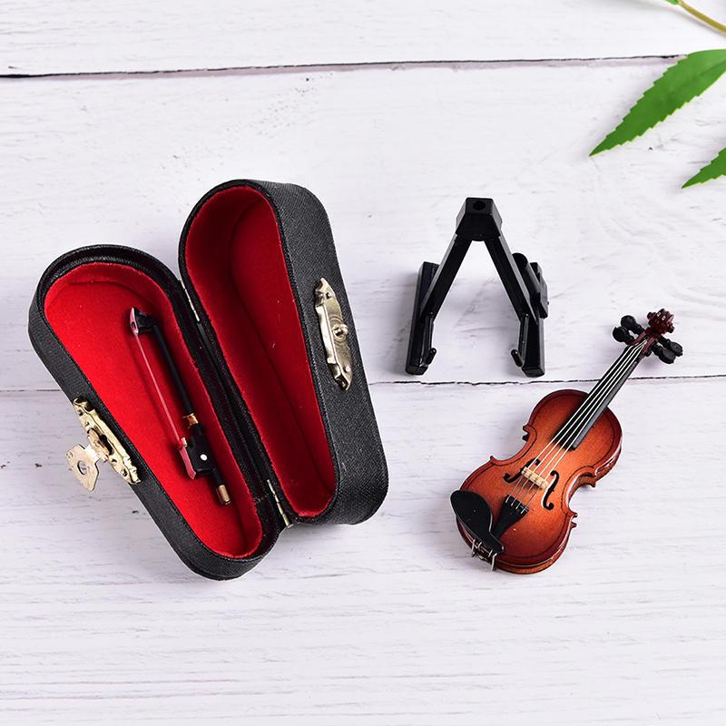 Dollhouse Violin Mini Wooden Instruments Miniature Fiddle Wooden Instr TBO