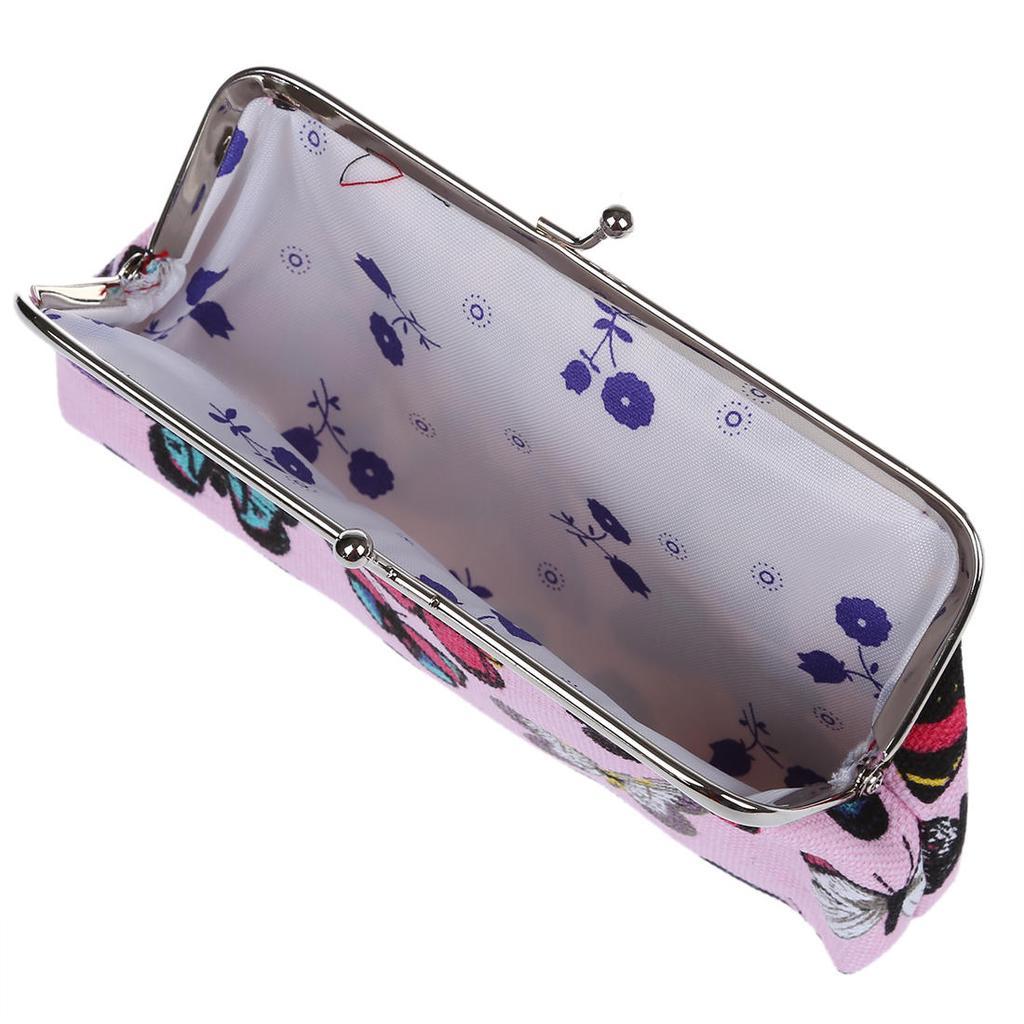 Canvas Cash Coin Purse,Butterfly Lilac Flowers Print Make Up Bag Zipper Small Purse Wallets