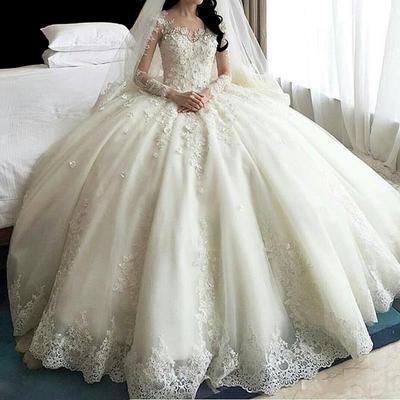 Plus Size Women Sexy Lace One Shoulder Long Sleeve Trailing Bride Wedding Dresses