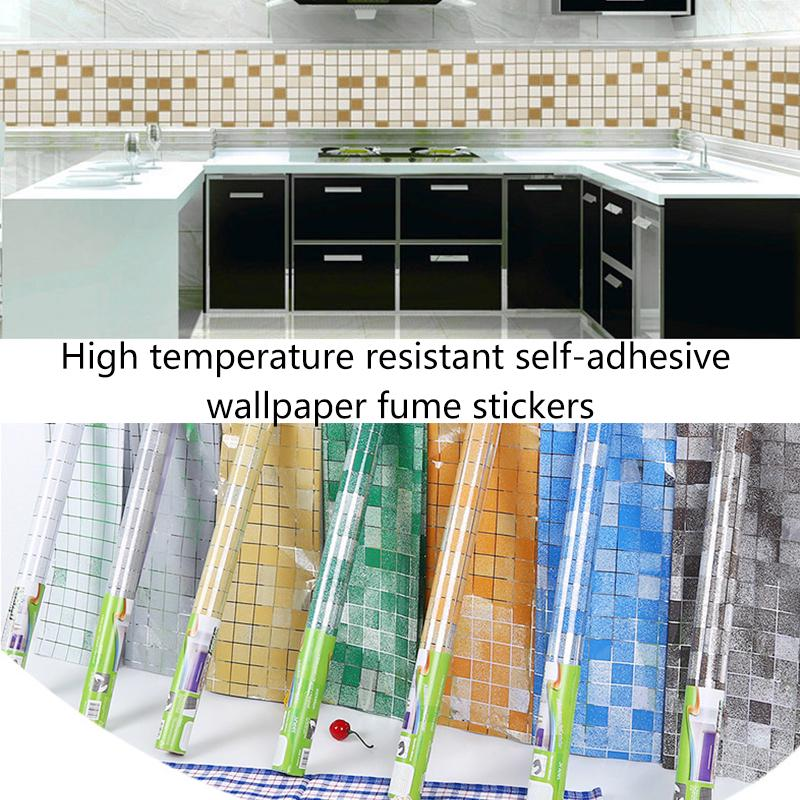 Waterproof Kitchen Oil-proof Wall Paper Tile Stickers Wallpaper-Self Adhesive