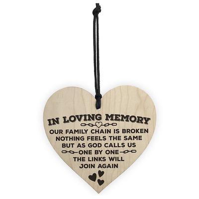 63ca05709e Colgante corazón Memorial placa amor cielo cartel de madera