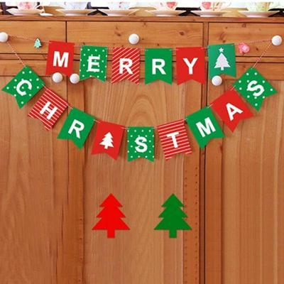 Merry Christmas Bunting Garland Banner Hanging Flag Shop Home XMAS Party Decor