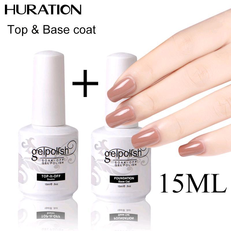 Топ и база пальто ногтей польский 15 Ml Полупостоянный маникюр для ногтей фото