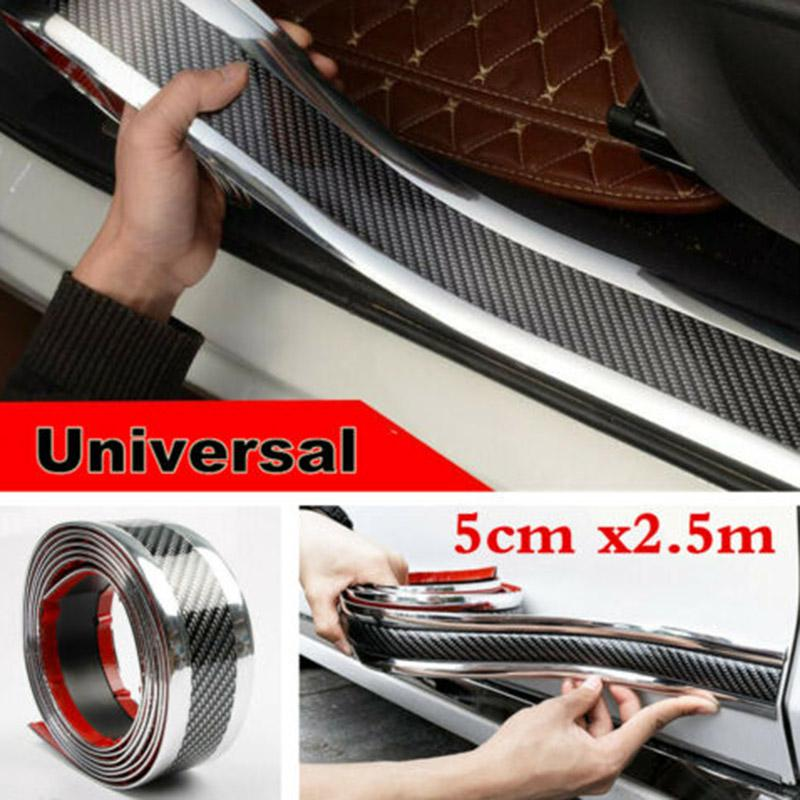Door Sill Protector,Carbon Fiber Car Sticker,High Glossy Bumper Guard Strip,Anti-collision Wrap Film 3 Colors Universal