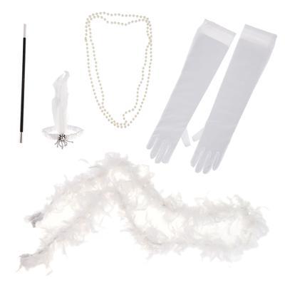 5 штук 20-х років Чарльстон партія перо жінка дівчаток костюмований  встановити білий eaea4c7c14814