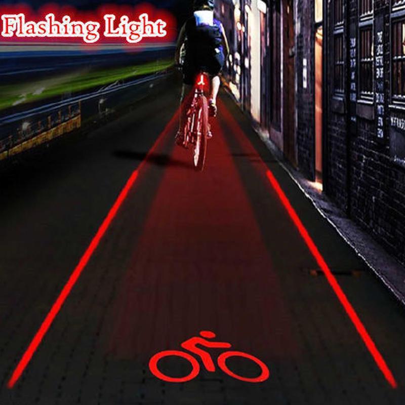 5 LED 2 Laser Bike Bicycle Tail Light Rear Flashing Cycling Warning Safety Lamp