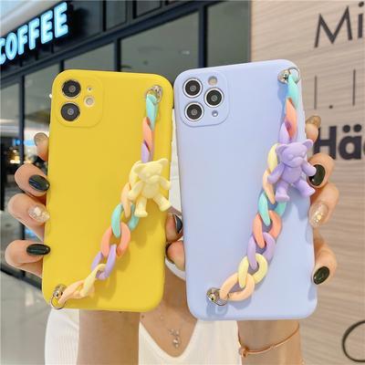 3D Cartoons Macaron Candy Bear Bracelet Soft Phone Case For iPhone 13 Samsung A22 A32 A42 Huawei Y6p Xiaomi Poco X3 Pro X3 NFC