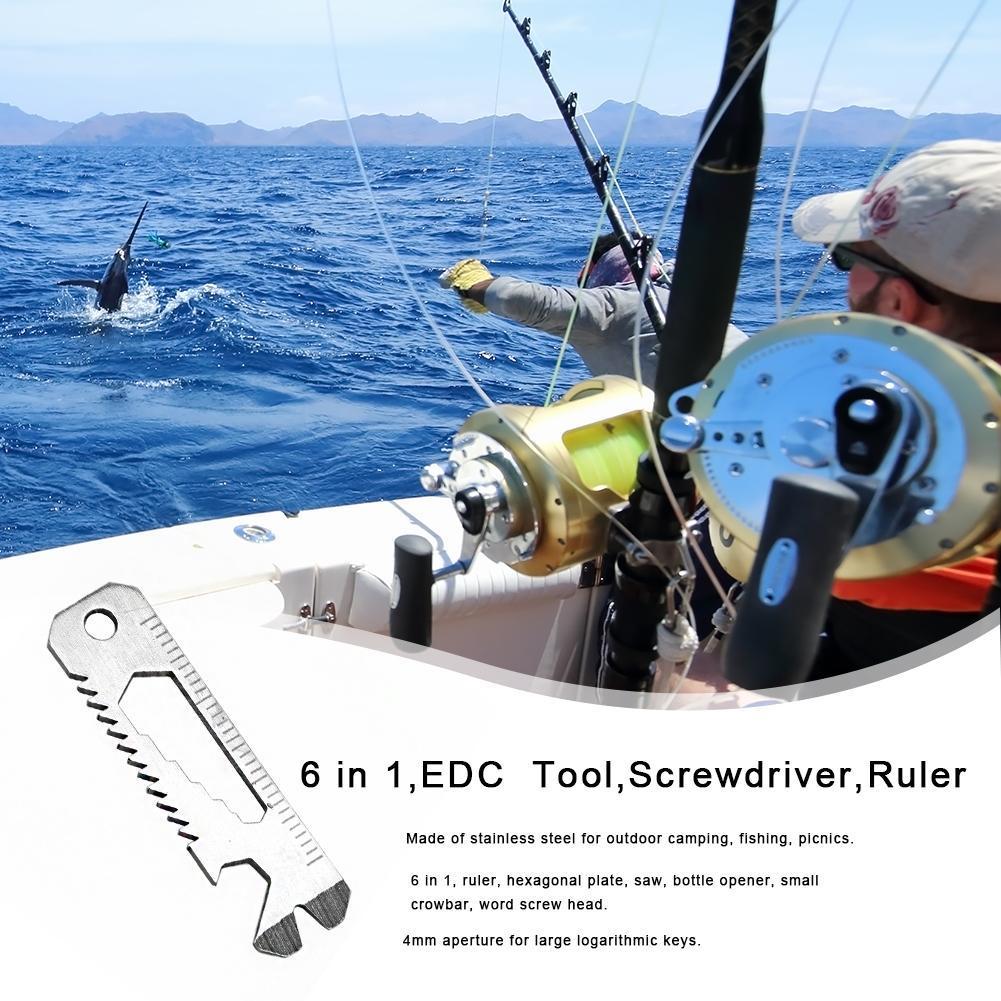 6 in 1 EDC Pocket Survival Tool Camping Screwdriver Bottle Opener Ruler *DC