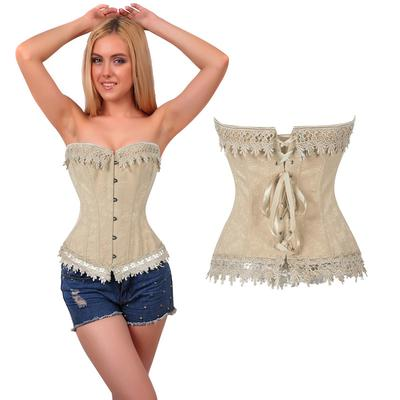 ffe29387f37 Womens Lace up Overbust Waist Training Bridal Corset Bustiers
