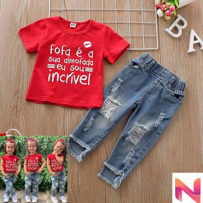 Toddler Kids Baby Girls Outfits Clothes Letter T-shirt Tops+Jeans Pants 2PCS Set