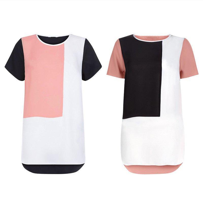 2016春夏新款雪纺T恤大码6XL拼接短袖T恤