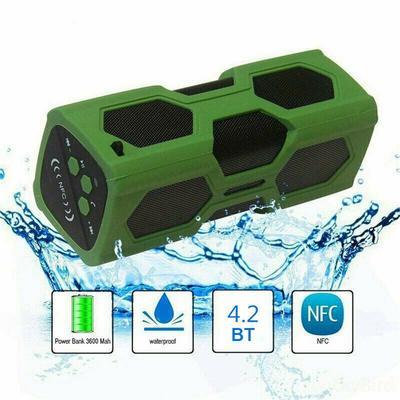 Bluetooth 4.2 Wireless Speaker Waterproof Power Bank Bass Subwoofer NFCTone Bass