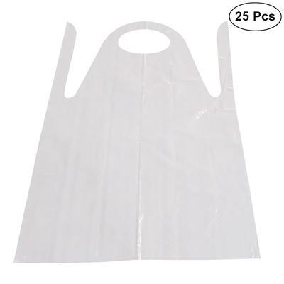 White Waterproof Kitchen Bib Aprons 10pcs 83X120cm Disposable PE Aprons