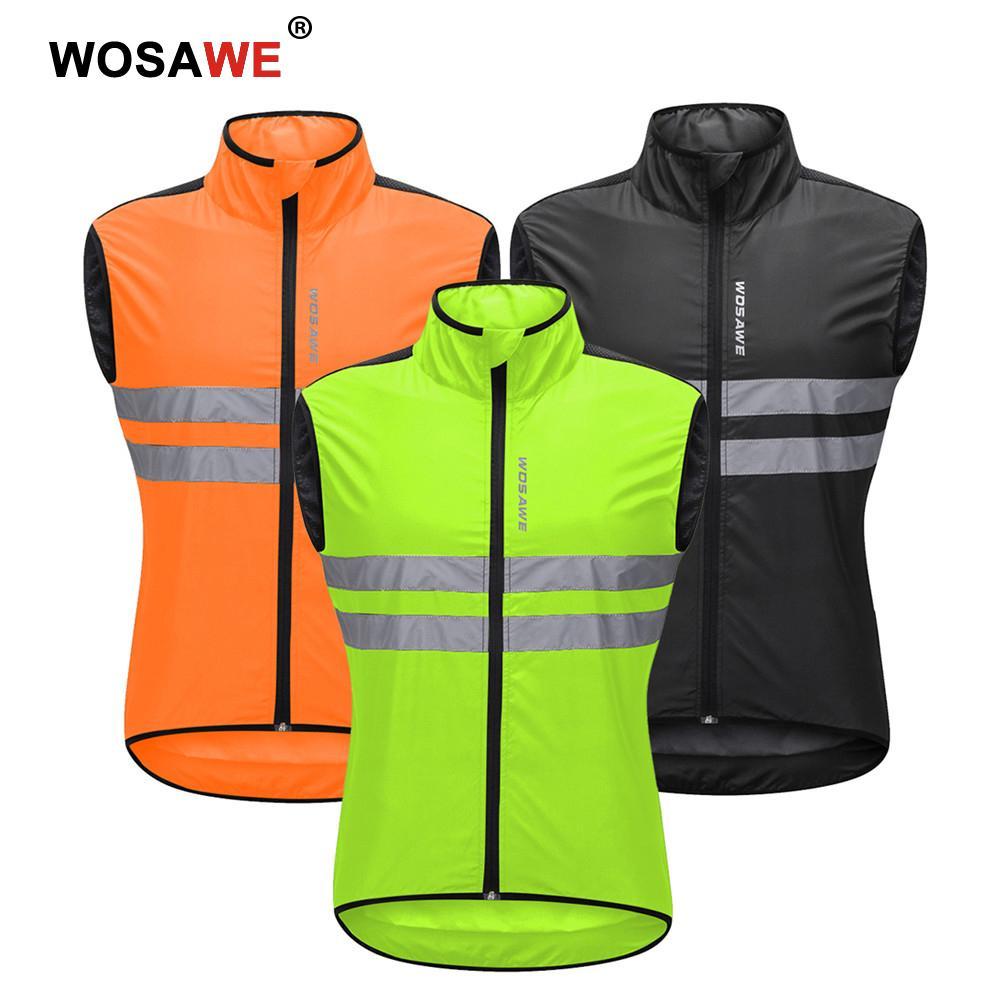 impermeable sin mangas ligero para carreras de motocicleta transpirable WOSAWE Chaleco de ciclismo para hombre con tira reflectante