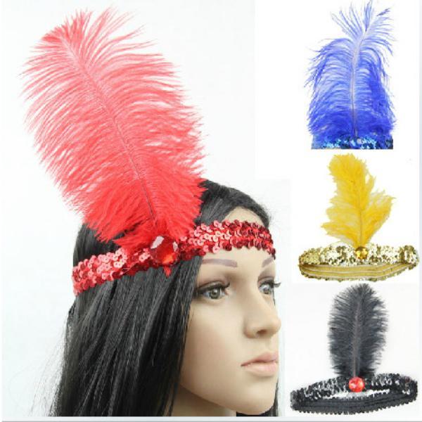 584164c6 Diadema de plumas 1 PC joven a la moda lentejuelas charlestón diadema de  traje herramientas de fiesta negro + rojo