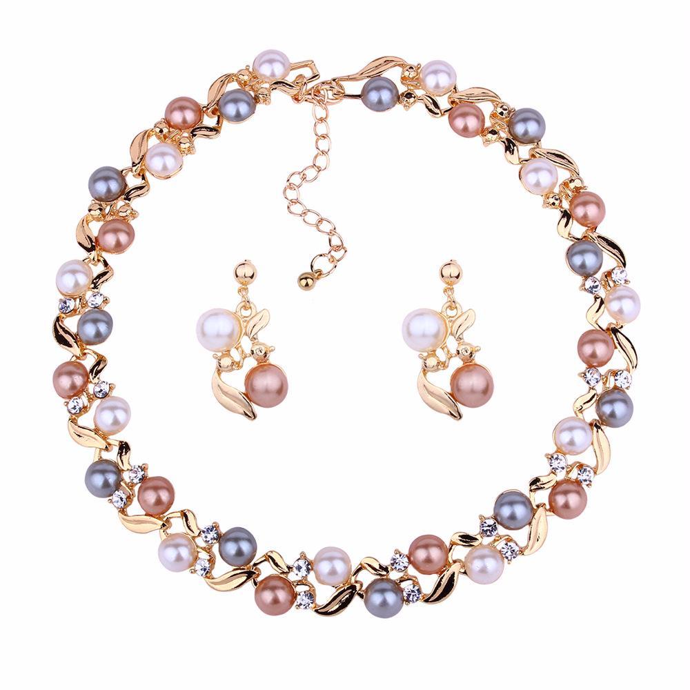 Перл Ожерелье и серьги Установить ожерелье и серьги набор для леди Подарки День рождения фото