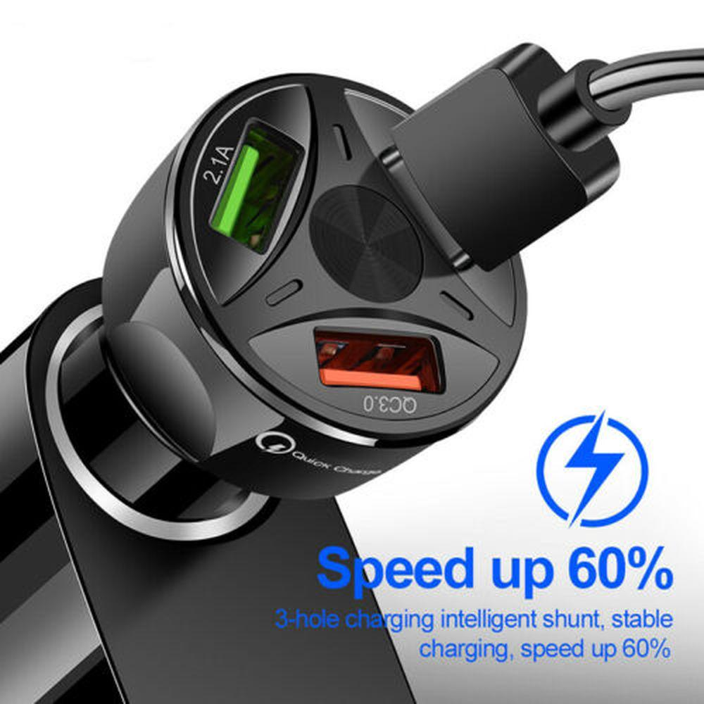 3 Ports USB QC 3.0 Car Charger Adapter LED Display Fast Charging for IOS Android