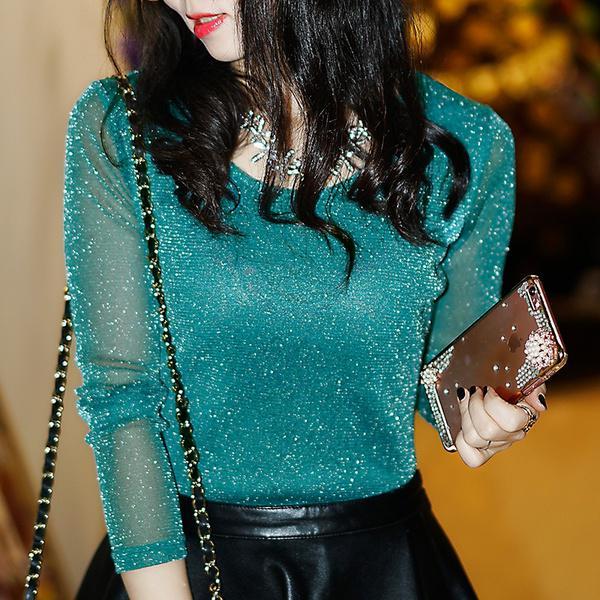 Вечерняя блуза с блестками и прозрачными рукавами фото