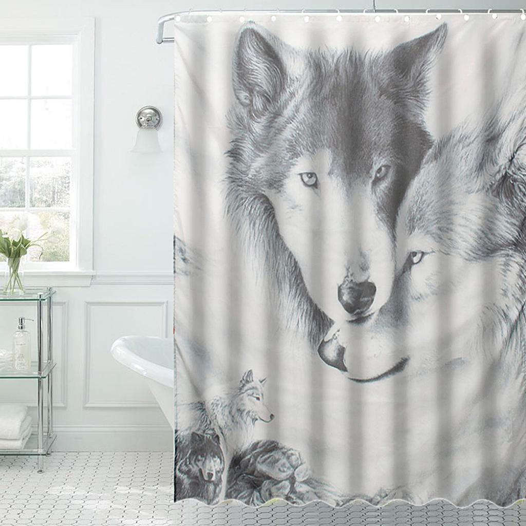 1 Pc Waterproof Wolf Head Shower Curtain for Home and Bathroom