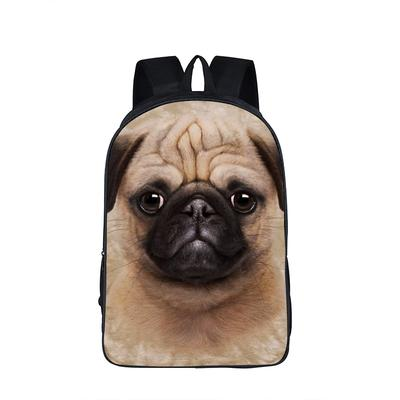 Black School Backpack /& Pencil Bag Pug Puppy Dog in a Motorcyclers Outfit