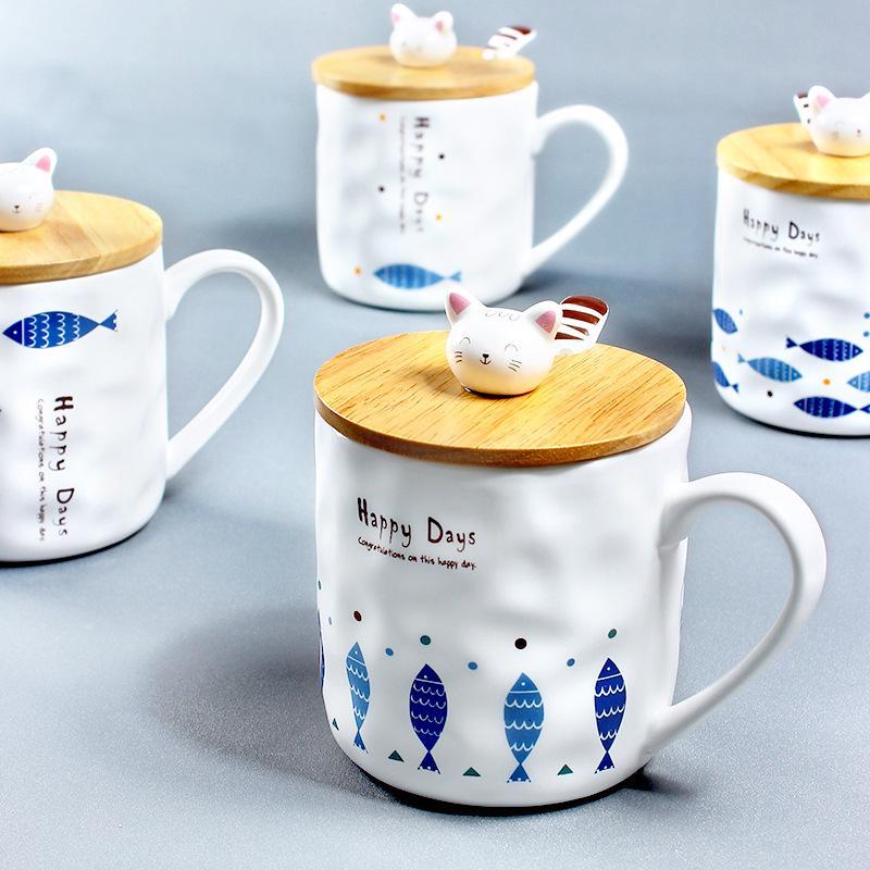 Vintage Mug Retro Glaze Milk Cupwith Lid Spoon Ceramic Cartoon Ceramic Cup