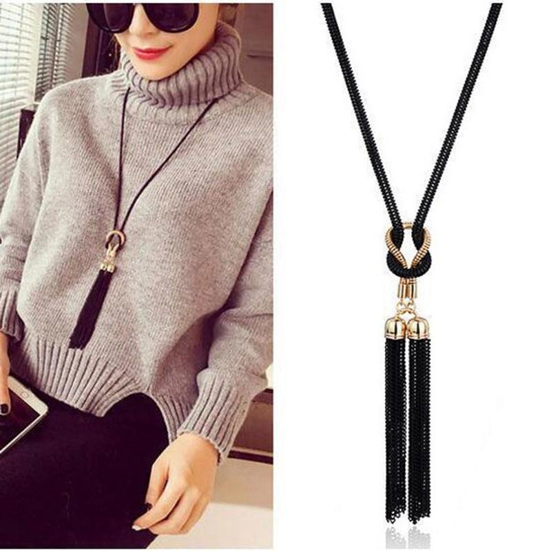 New Fashion Women Long Tassel Sweater Chain Necklace Crystal Beads Choker