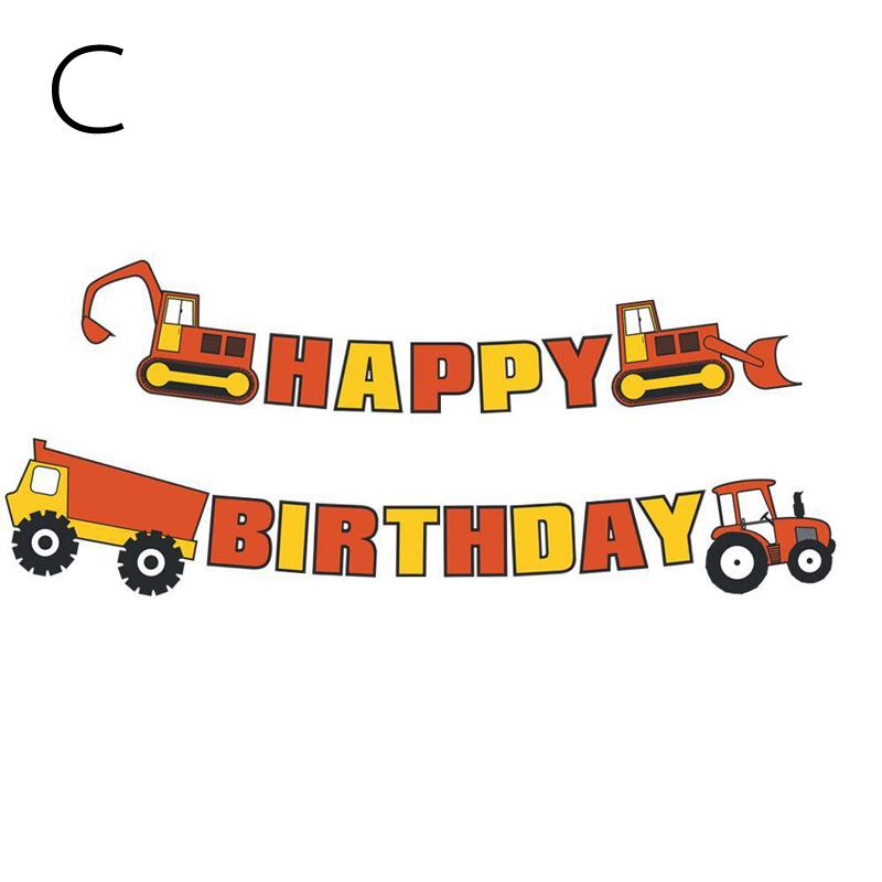 Tractor Truck Excavator Happy Birthday Party Favor Paper Card Banner Streamer E