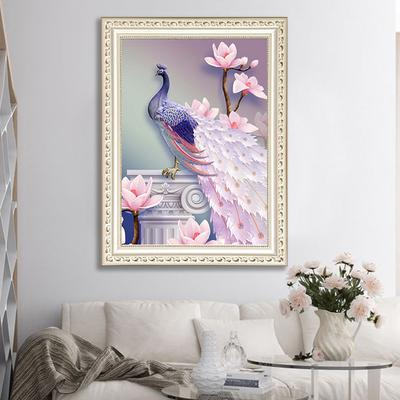 5d Diy Diamond Painting Painted Magnolia Peacock Picture
