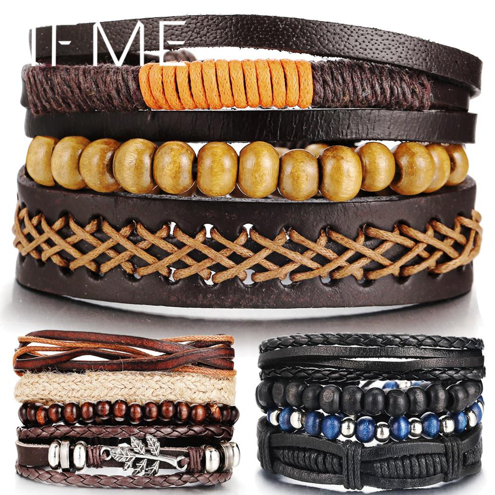 Unisexe Bijoux Cuir Multicouche Punk Wide Bracelet Bangle Cuff Crystal